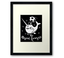 The Magical Narwhals Soccer Club Logo -White on Dark Framed Print