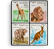 Collection of wild animals stamps. Canvas Print