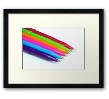 Multicolor pens on white background. Framed Print