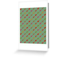 Autumn leaves pattern -green- Greeting Card