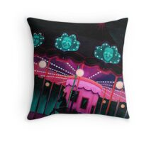 Pink and Purple Carnival, Oil Painting of Carousel, horse and faces Throw Pillow