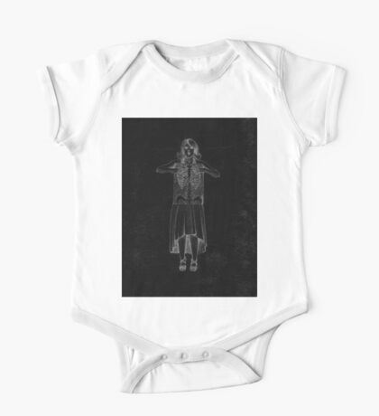 Black Exposure , Girl with Xray in dress and heels with ribcage One Piece - Short Sleeve