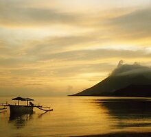 Volcano and Sea, Golden Sunset, Pulau Bunaken, North Sulawesi, Indonesia by Jane McDougall