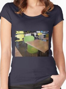 Wooden tables and chairs in a fastfood Women's Fitted Scoop T-Shirt