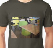Wooden tables and chairs in a fastfood Unisex T-Shirt