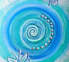 Mandala Art : Blue Butterflies by danita clark