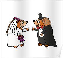 Cool Funky Hedgehog Bride and Groom Wedding Art Poster