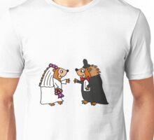 Cool Funky Hedgehog Bride and Groom Wedding Art Unisex T-Shirt