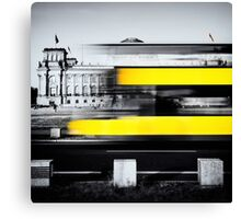 Berlin Reichstag buildung with yellow double-decker bus Canvas Print