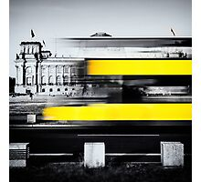 Berlin Reichstag buildung with yellow double-decker bus Photographic Print
