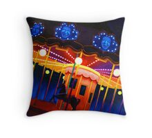 Carousel , Oil Painting bright night carnival creepy scene , Illustration Art Print  Throw Pillow
