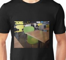 Wooden tables and chairs with furiture in restaurant  Unisex T-Shirt