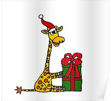 Cool Funny Giraffe Opening Christmas Package Poster