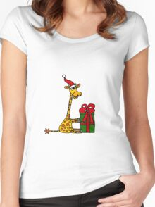 Cool Funny Giraffe Opening Christmas Package Women's Fitted Scoop T-Shirt