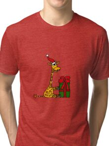 Cool Funny Giraffe Opening Christmas Package Tri-blend T-Shirt