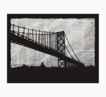 News Feed , Newspaper Bridge Collage, night cityscape cutout, black white city print illustration  One Piece - Short Sleeve