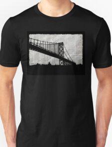 News Feed , Newspaper Bridge Collage, night cityscape cutout, black white city print illustration  Unisex T-Shirt