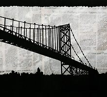 News Feed , Newspaper Bridge Collage, night cityscape cutout, black white city print illustration  by IrenesGoodies