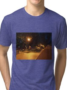 Bright street lights and staircase of granite Tri-blend T-Shirt