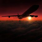 Airplane in the sky at sunset by Nasko .