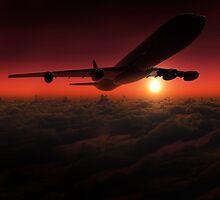 Airplane in the sky at sunset by Atanas Bozhikov