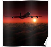 Airplane in the sky at sunset Poster