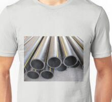 Black PVC tube closeup on the street Unisex T-Shirt