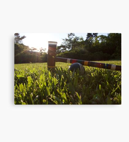 Croquet ball and mallet Canvas Print