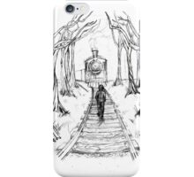 Old Railroad , Black and White boy and train in woods with moon landscape creepy Illustration iPhone Case/Skin