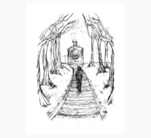 Old Railroad , Black and White boy and train in woods with moon landscape creepy Kids Clothes