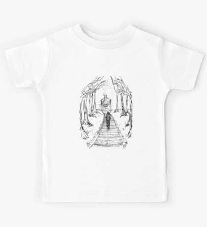 Old Railroad , Black and White boy and train in woods with moon landscape creepy Illustration Kids Tee