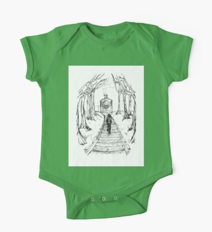 Old Railroad , Black and White boy and train in woods with moon landscape creepy Illustration One Piece - Short Sleeve