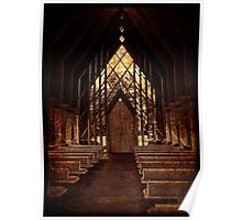 Small Wooden Chapel, Powell Gardens, Red Tone Poster