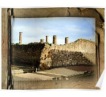Pompeii Columns & Wall Ruins - Italy Poster