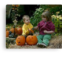 little pumpkin carvers Canvas Print