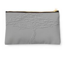 Silver Tree of Life , Zen African Bonsai Grey Studio Pouch