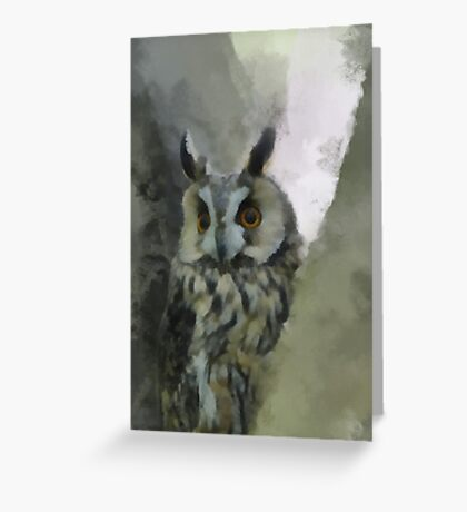 Long Eared Owl in Tree Greeting Card
