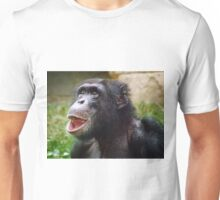 Derpy Chimpanzee Looking Up with Mouth Open Unisex T-Shirt