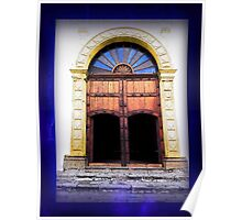 Arched Double Door Blue Glass - Guatemala Poster