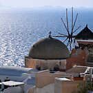Windmill and Sea, Santorini Greece by Katerina Vorvi