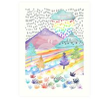 Watercolour Landscape Art Print