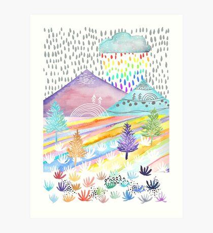 Watercolour Landscape Art Print