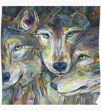 Gray wolves painting - 2012 Poster