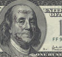 If Benjamin Franklin was a thug - 100 Dollar Bill Sticker