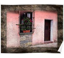 Guatemalian Pink Stucco Facade Poster