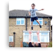 See dad I can fly!, Canvas Print