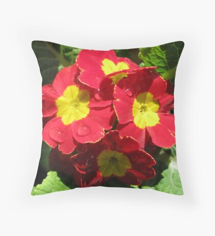 Red Velvet - Scarlet and Yellow Primrose with Raindrops Throw Pillow