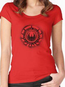 Battlestar Galactica Grunge - Blue line Women's Fitted Scoop T-Shirt