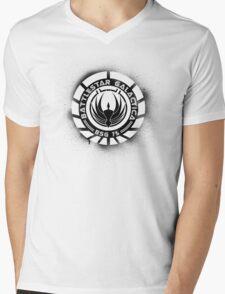 Battlestar Galactica Grunge - Blue line Mens V-Neck T-Shirt