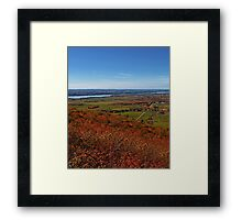 Fields, Meadow. Rural Road & the Ottawa River in a Fall Autumn Landscape under a Blue Sky with Haze Framed Print